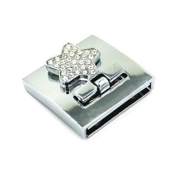 1pce x 33mm*33mm Star design folder cuff clasp with rhinestone